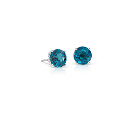 London Blue Topaz Stud Earrings in 14k White Gold (7mm)
