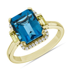 London Blue Topaz and Peridot Octagon Ring in 14k Yellow Gold
