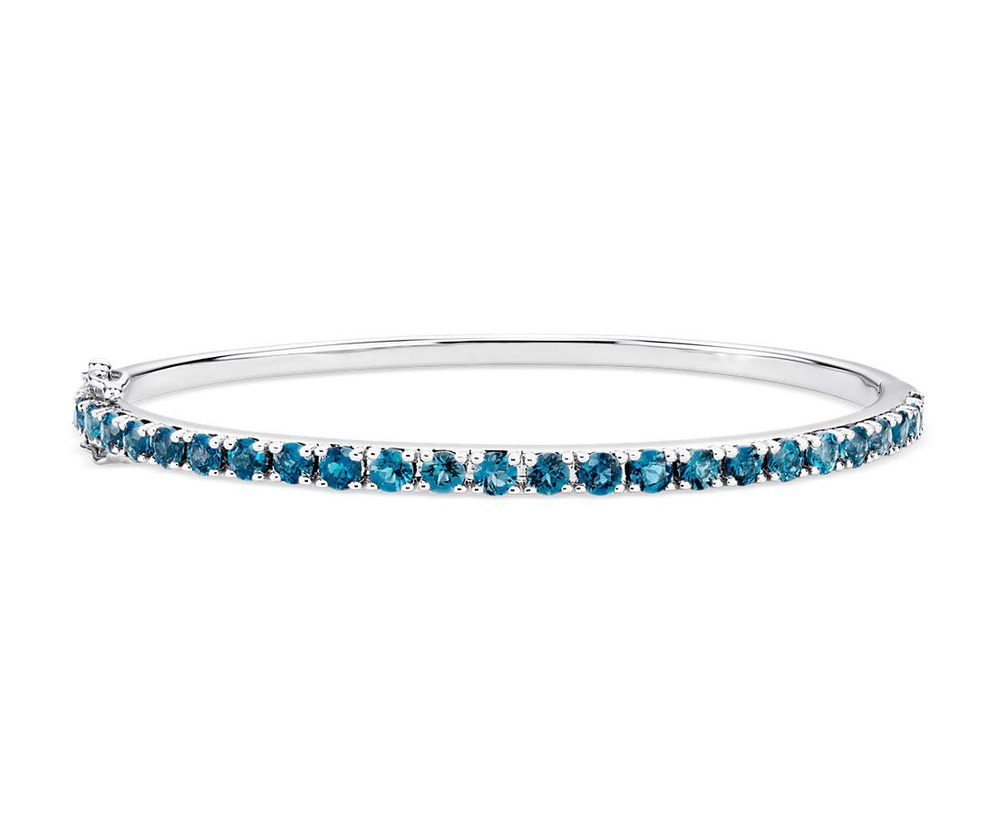 Bracelet jonc Topaze bleu de Londres en argent sterling