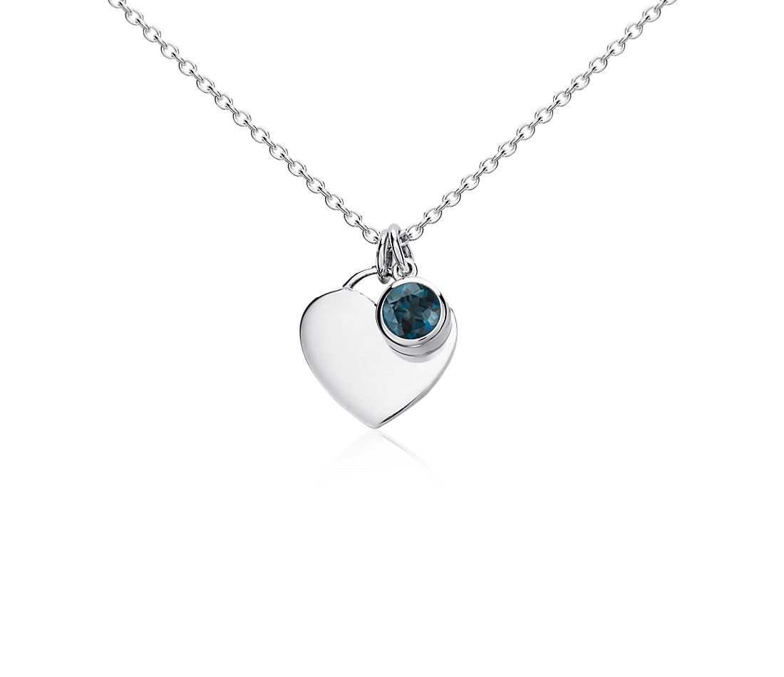 London Blue Topaz Birthstone Heart Pendant in Sterling Silver (December) (4.5mm)