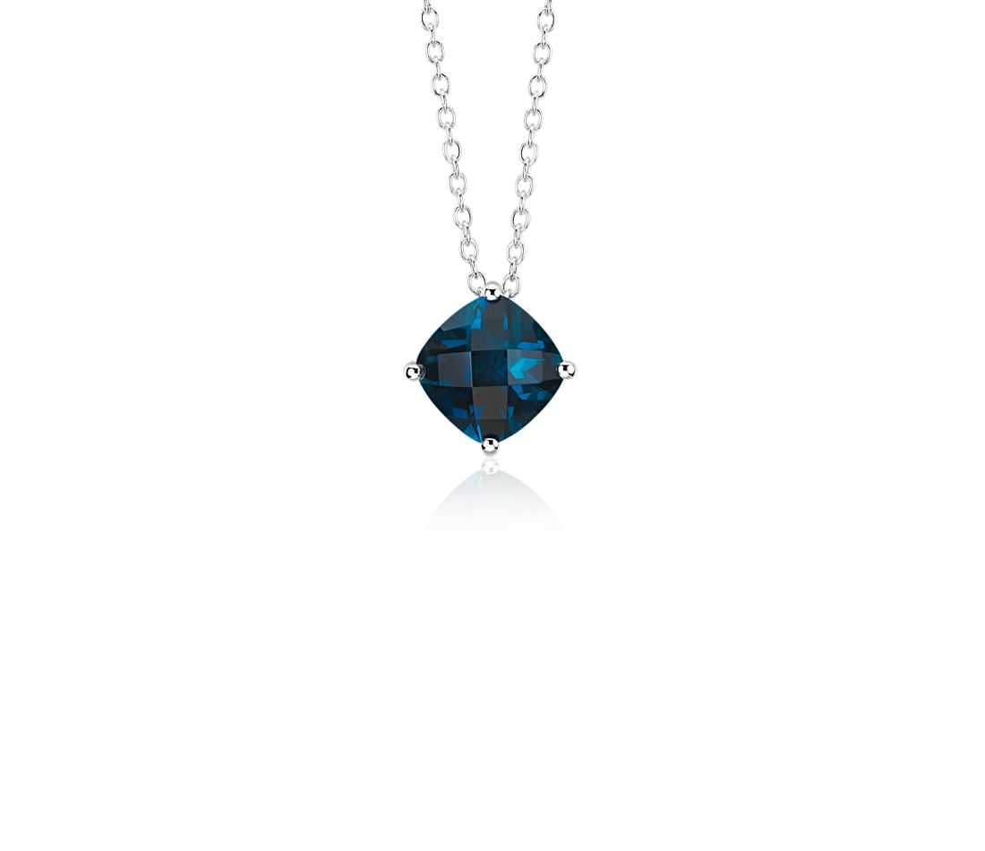 London Blue Topaz Cushion Pendant in Sterling Silver