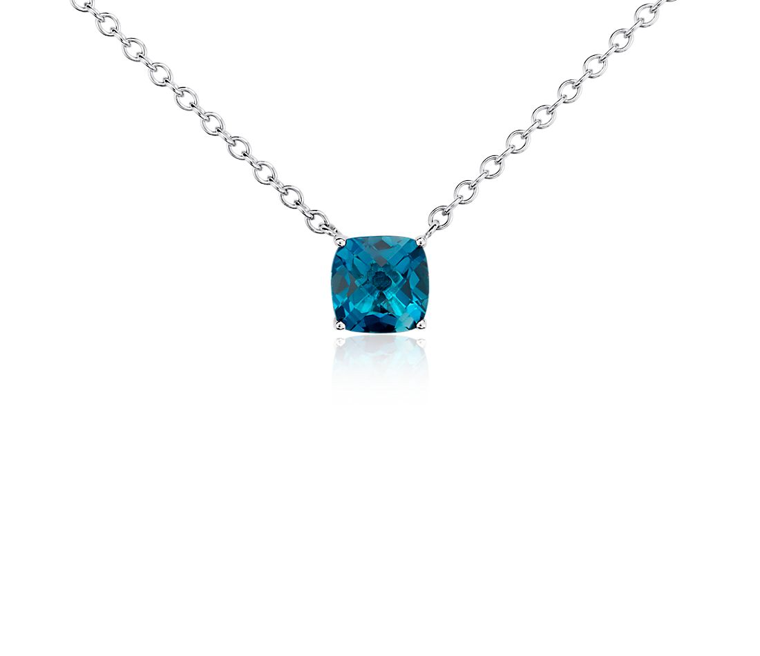 London Blue Topaz Cushion Pendant in Sterling Silver (8mm)