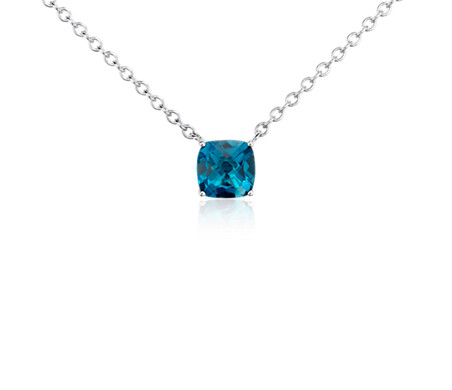 Blue Nile London Blue Topaz Cushion Pendant in Sterling Silver (8mm) 6oViD