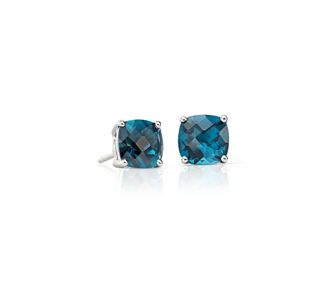 London Blue Topaz Cushion Earrings In Sterling Silver 8mm