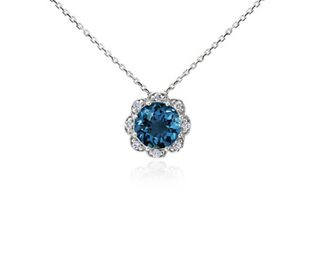 London Blue Topaz and Diamond Flower Pendant in 14k White