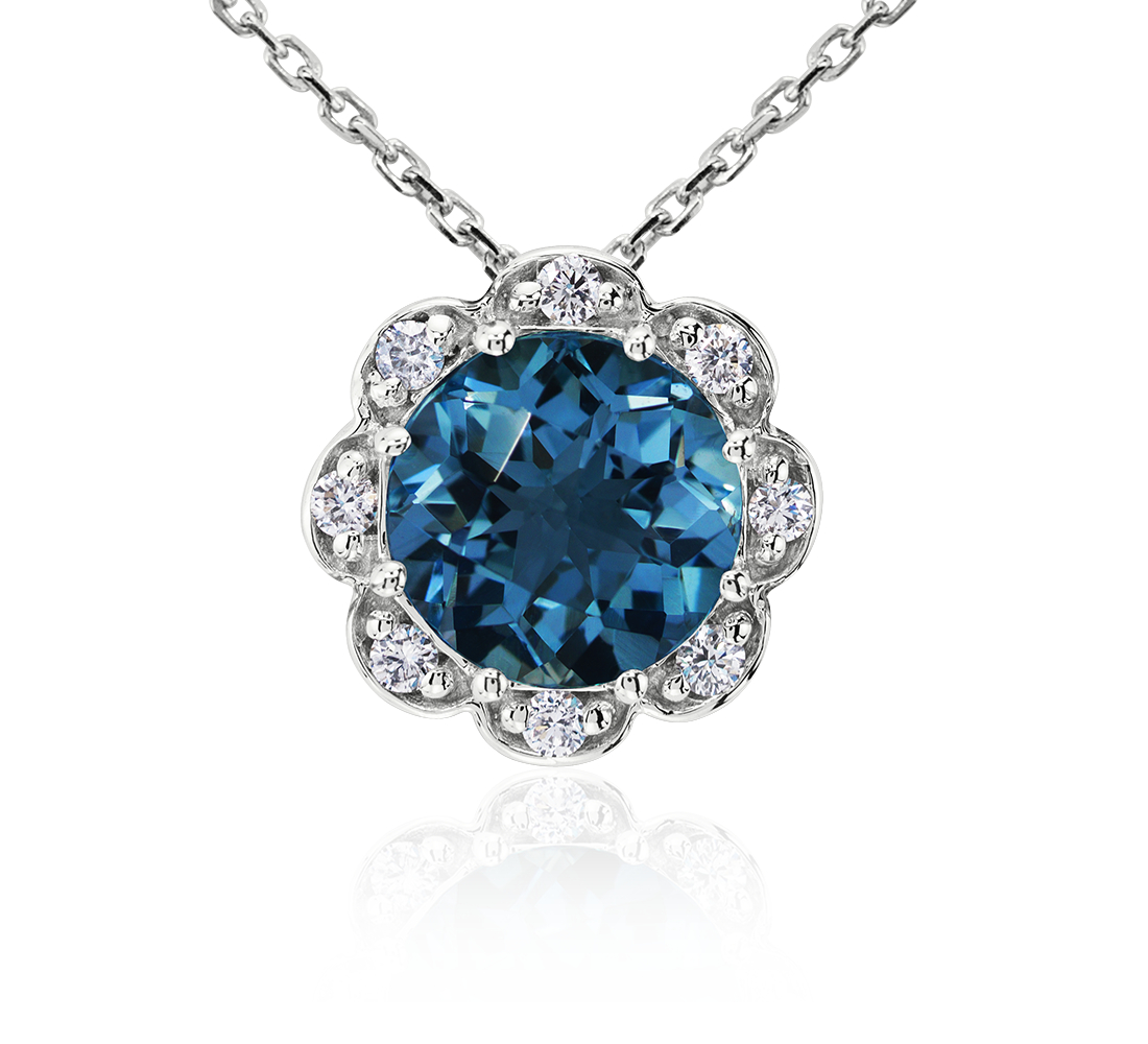 London Blue Topaz and Diamond Flower Pendant in 14k White Gold