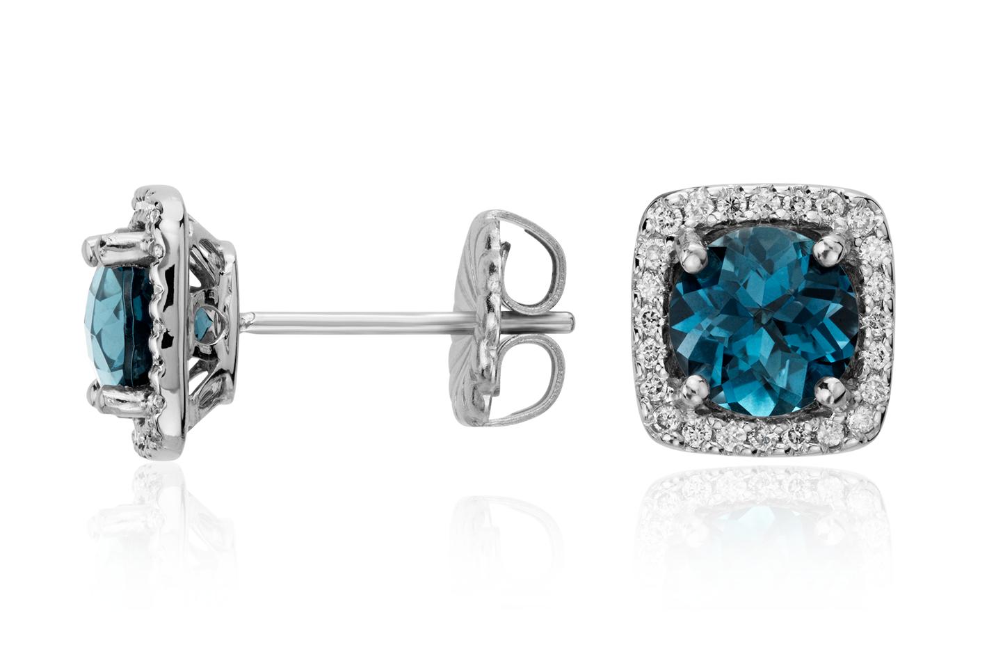 Aretes de diamante talla cojín y topacio azul Londres en oro blanco de 14 k