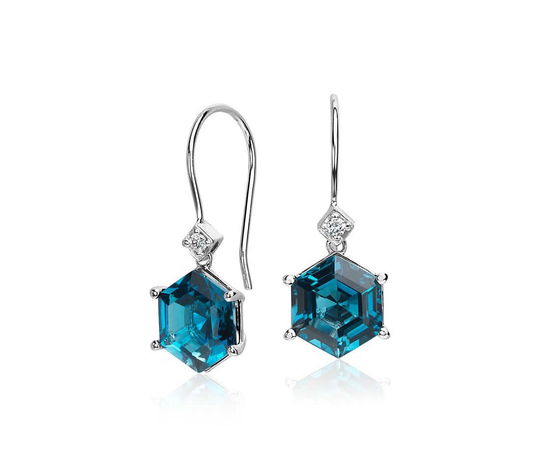 London Blue Topaz Hexagon And Diamond Drop Earrings 14k White Gold 8x8mm