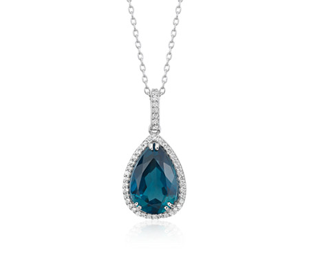 London Blue Topaz Elegant Halo Pendant in Sterling Silver (14x9mm)