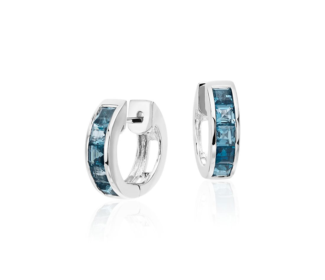 London Blue Topaz Hinged Hoop Earrings in Sterling Silver