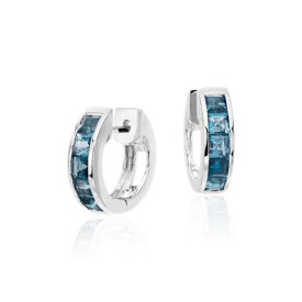 London Blue Topaz Hinged Hoop Earrings in Sterling Silver (3mm)