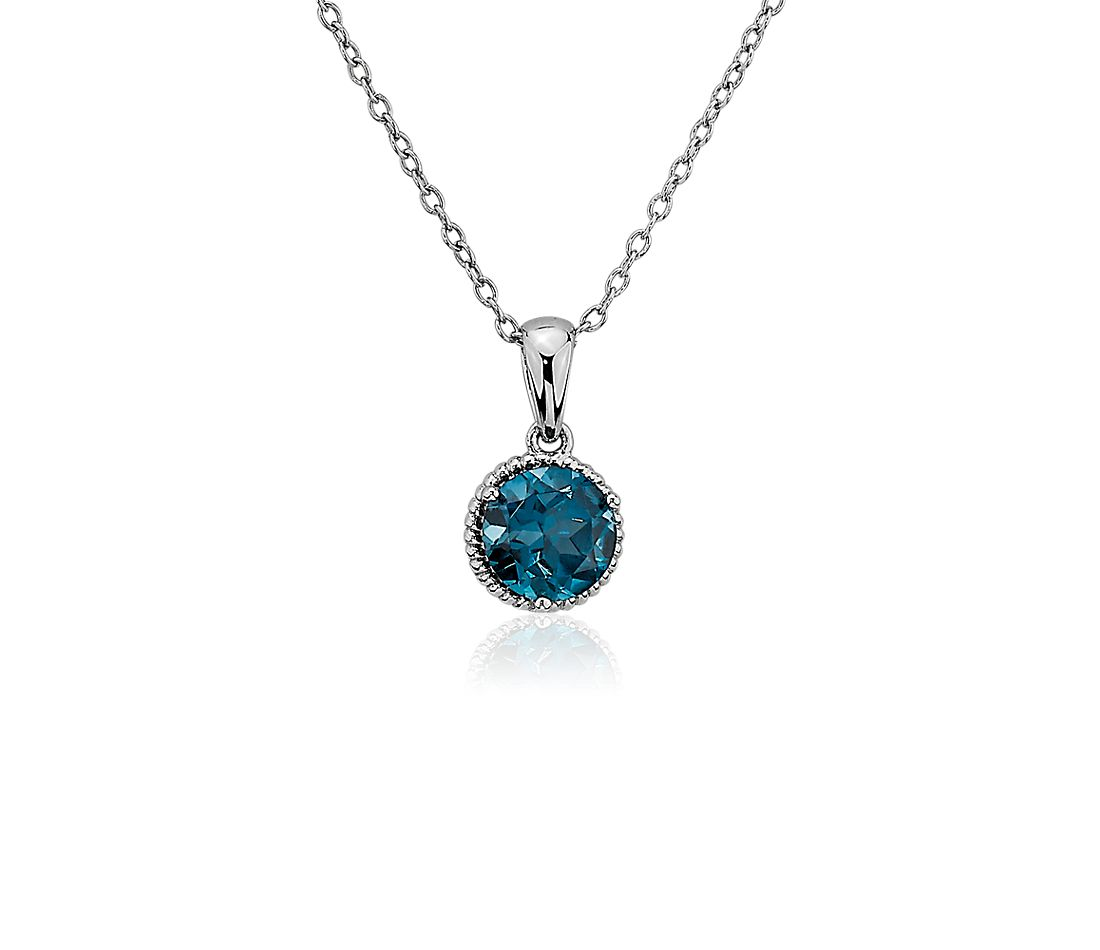 London Blue Topaz Rope Pendant In Sterling Silver 7mm