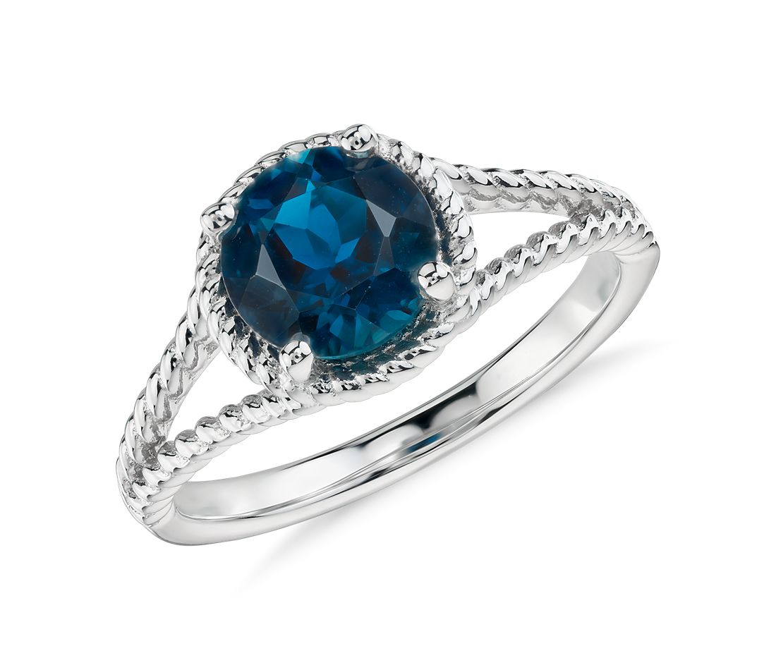 London Blue Topaz Rope Ring in Sterling Silver (7mm)