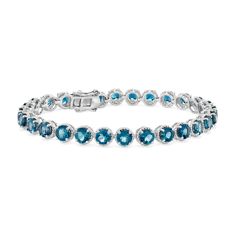London Blue Topaz Round Rope Bracelet in Sterling Silver (5mm)