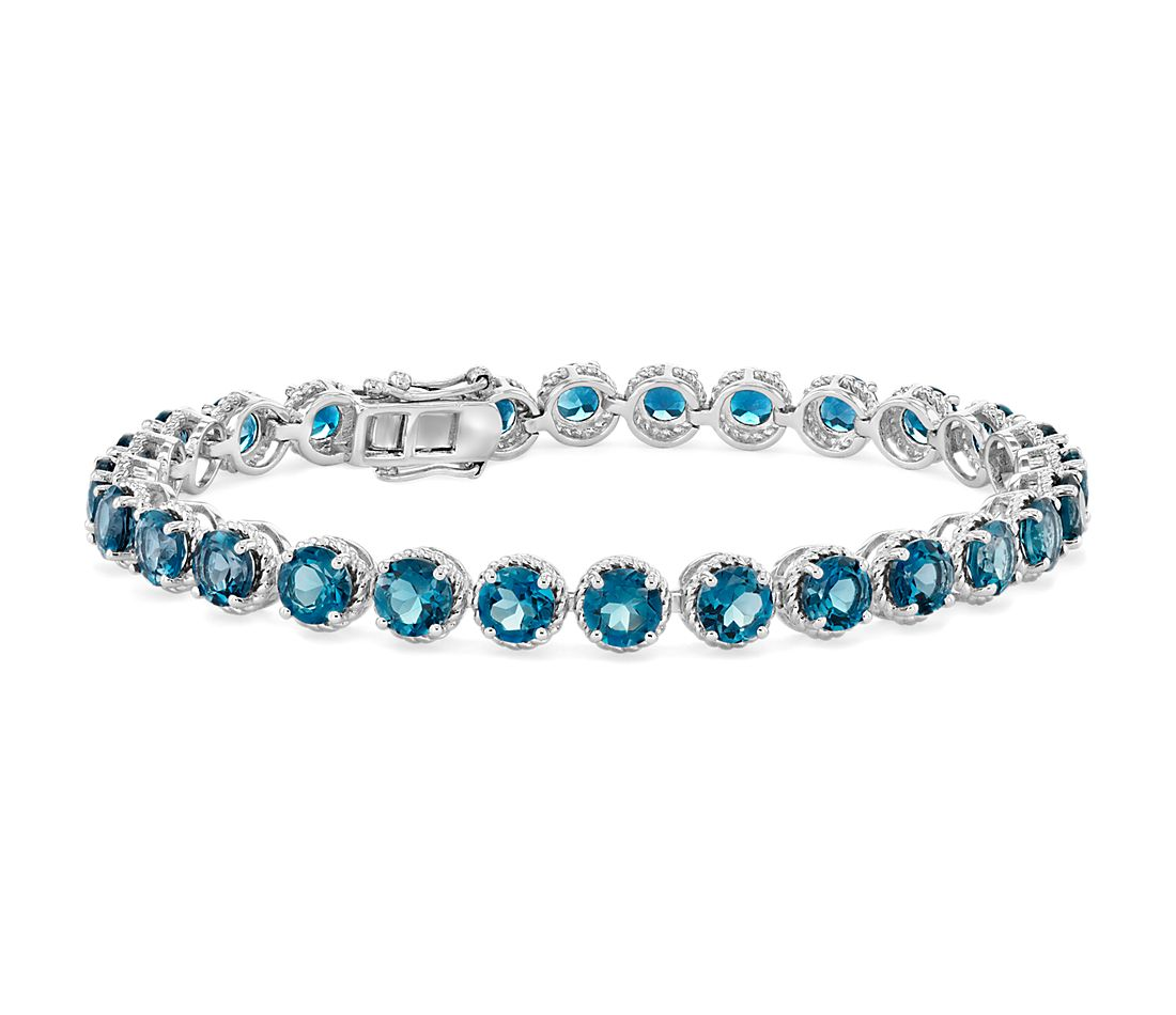 London Blue Topaz Round Rope Bracelet in Sterling Silver (5mm)