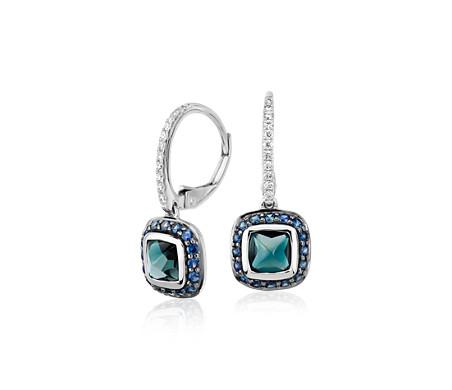 Blue Nile Studio 倫敦藍色托帕石與藍寶石吊墜耳環