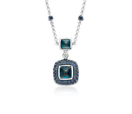 Blue Nile Studio London Blue Topaz and Sapphire Necklace in 18k White Gold (5-7mm)