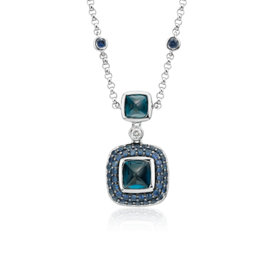 Collier saphir et topaze bleue de Londres de Blue Nile Studio en or blanc 18 carats (5-7 mm)