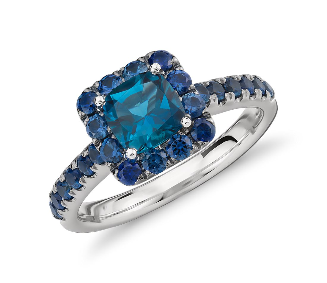 Blue Nile Studio London Blue Topaz and Sapphire Halo Ring in 18k White Gold  (6mm)