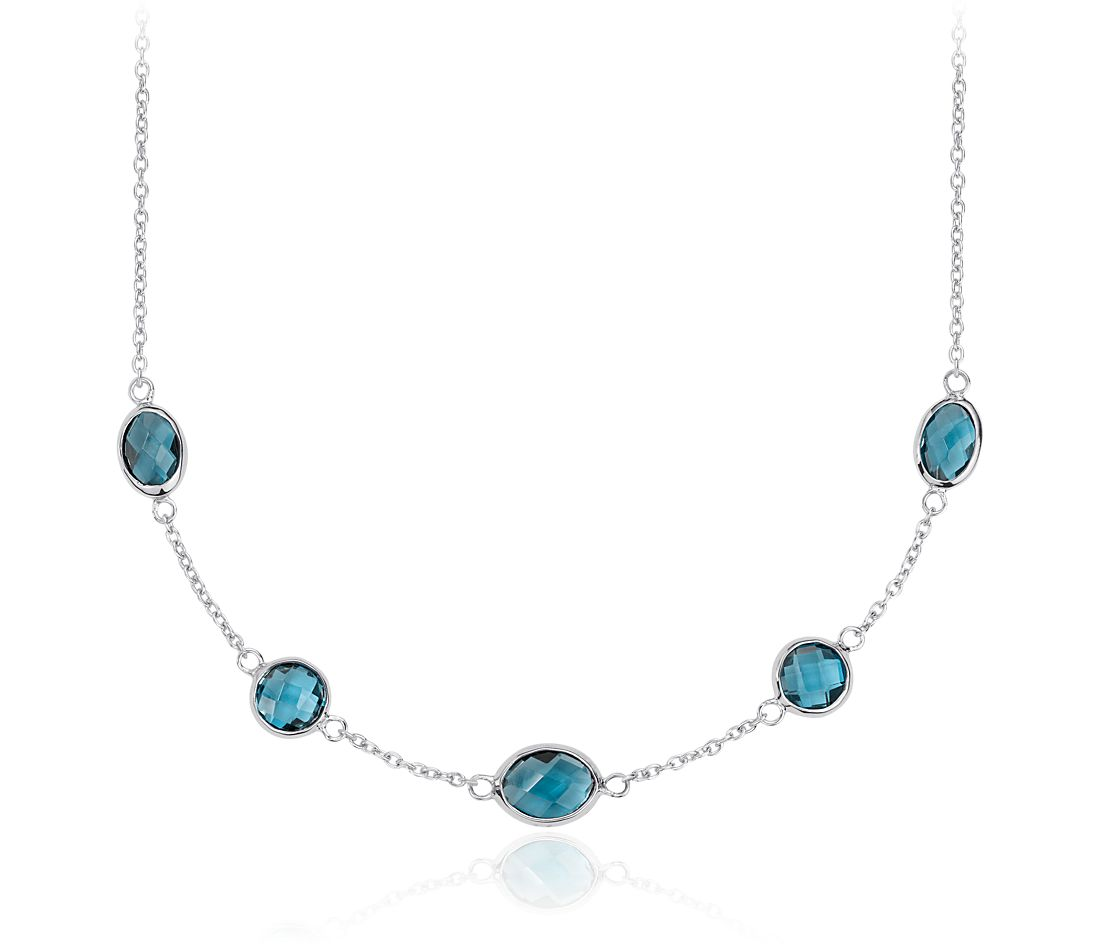 London Blue Topaz Stationed Necklace in Sterling Silver (8x6mm)