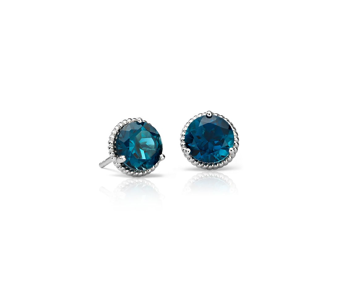 London Blue Topaz Rope Stud Earrings In Sterling Silver 7mm