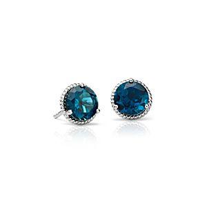 London Blue Topaz Rope Stud Earrings in Sterling Silver (7mm)