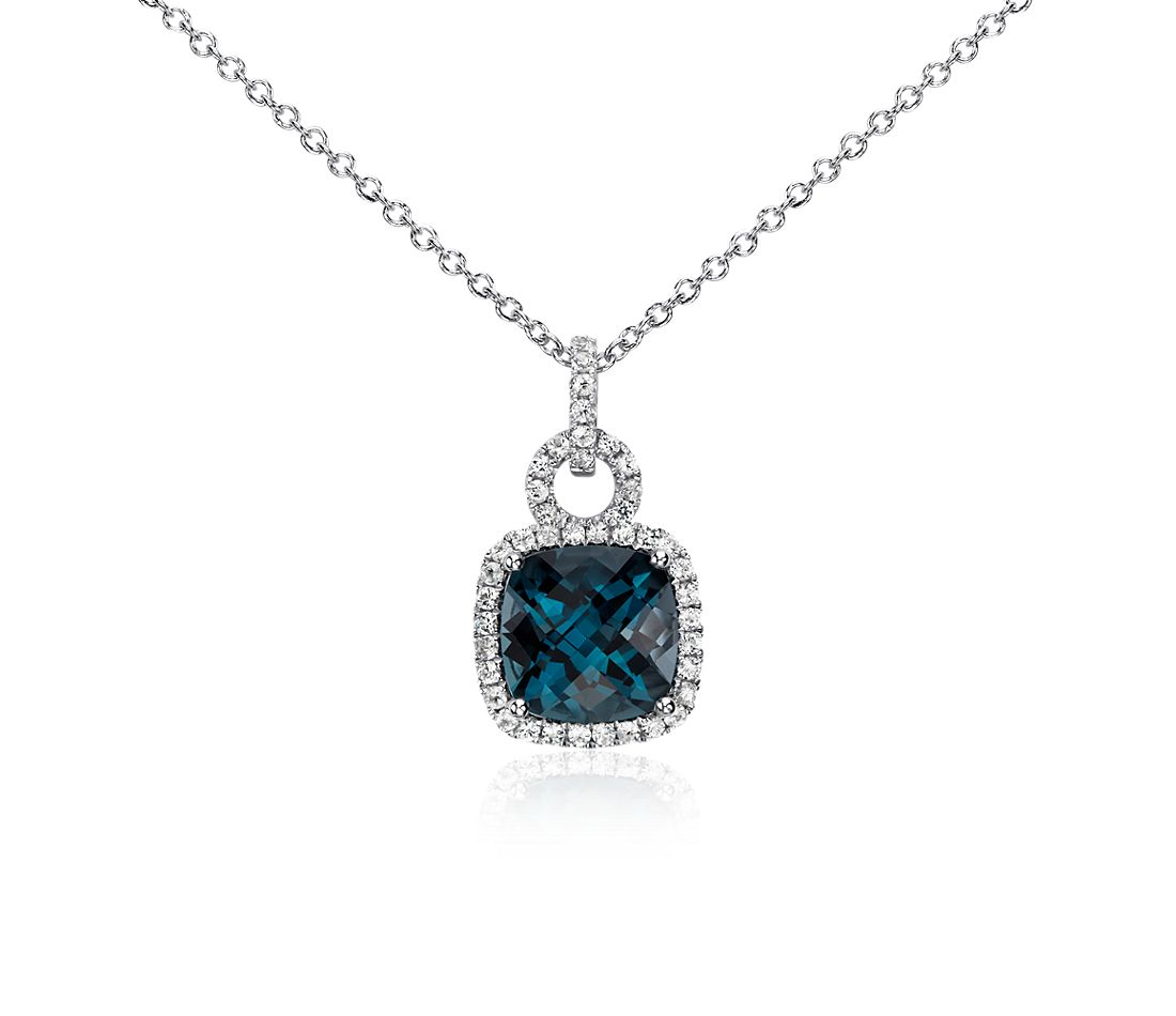 london blue topaz and white sapphire halo cushion cut. Black Bedroom Furniture Sets. Home Design Ideas