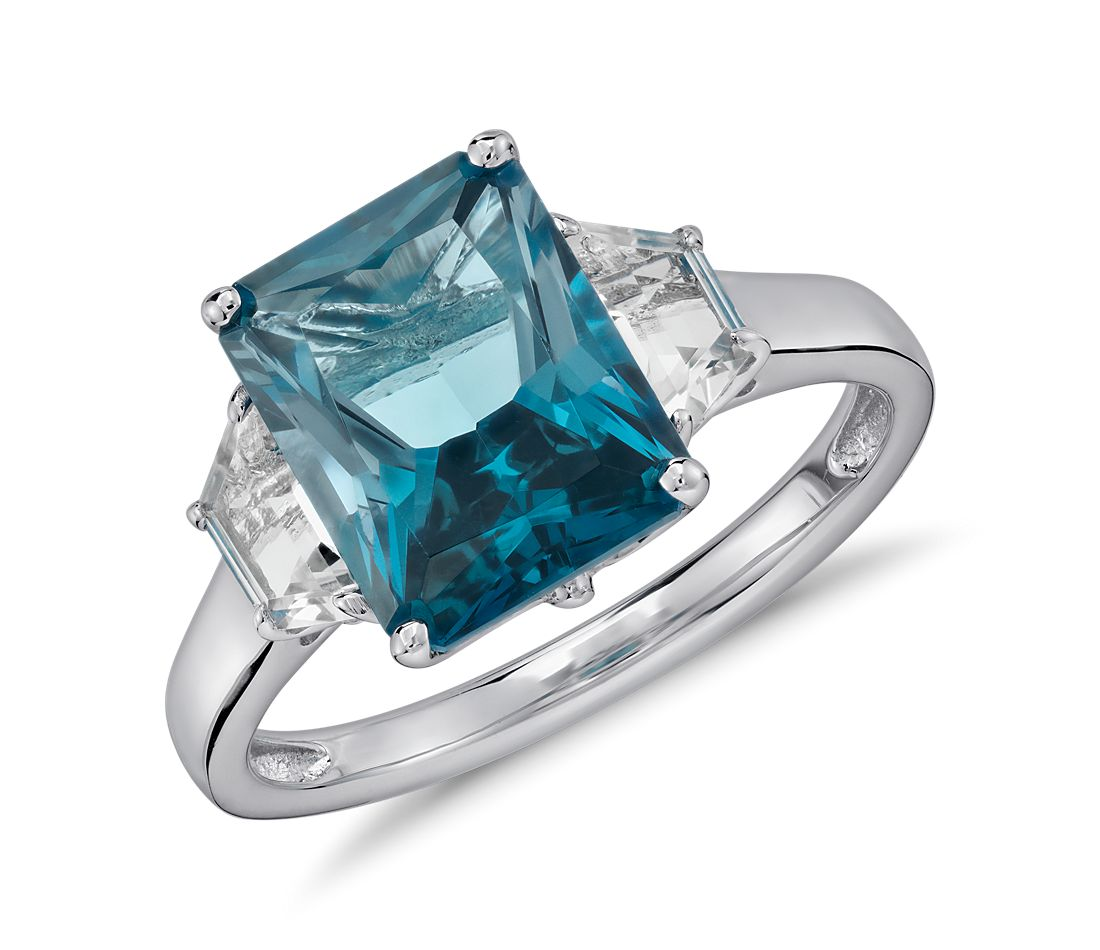 London Blue Topaz And White Topaz Radiant Cut Ring In