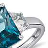 London Blue Topaz and White Topaz Radiant Cut Ring in Sterling Silver (10x8mm)