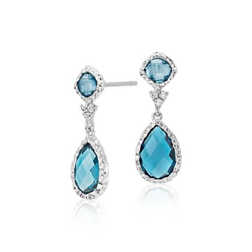 London Blue Topaz And White Topaz Dangle Earrings In