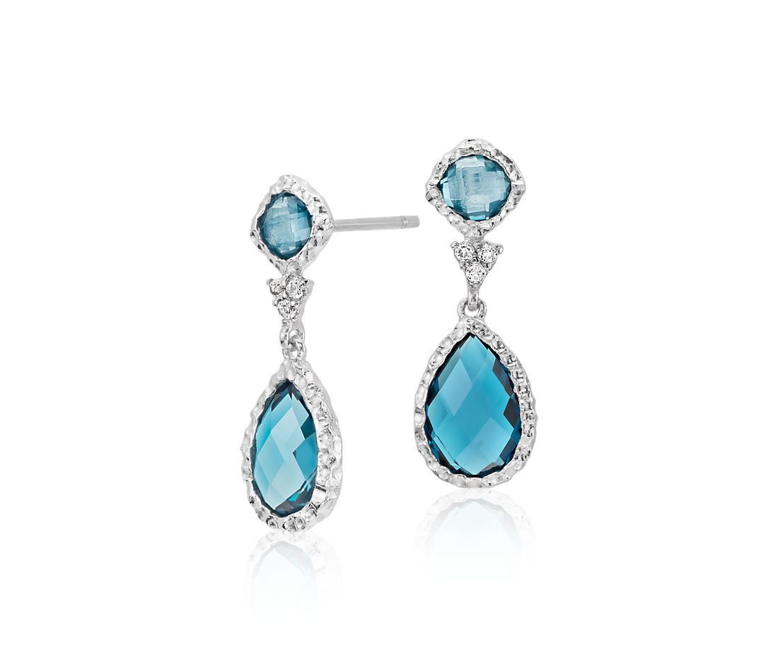 London Blue Topaz And White Dangle Earrings In Sterling Silver 9x6mm