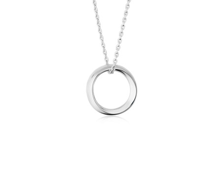 Long Abstract Circular Pendant in Sterling Silver