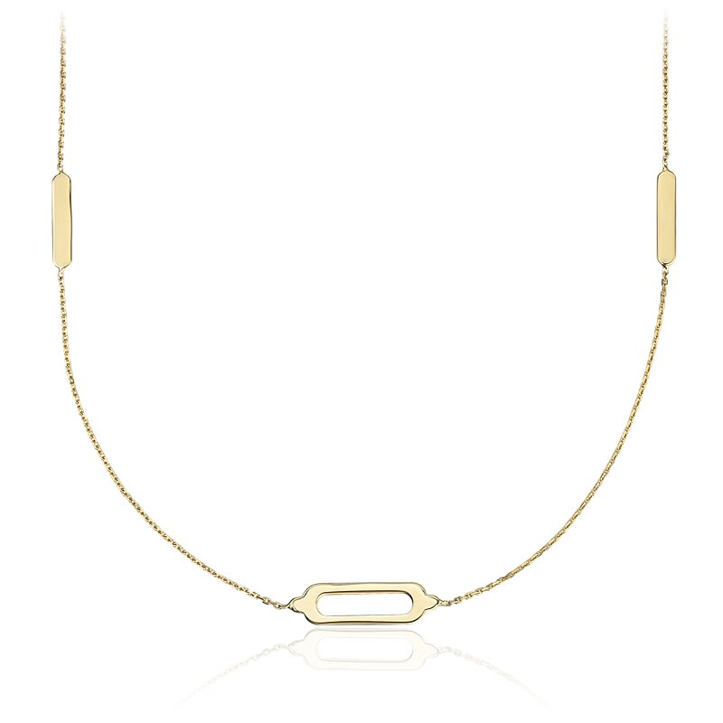 Long and Layered Stationed Geometric Rectangle Necklace in 14k Ye