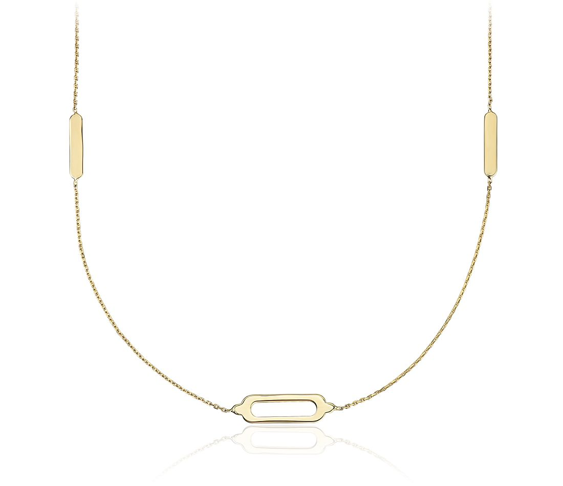 Long and Layered Stationed Geometric Rectangle Necklace in 14k Yellow Gold
