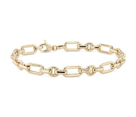 14k 黃金 長短鏈狀手鍊
