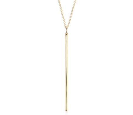 "Long Bar Pendant in 14k Yellow Gold (30"")"