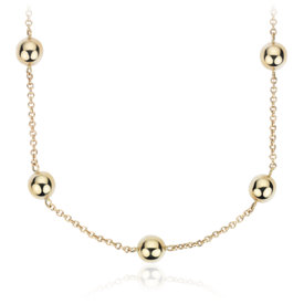 "Long Bead Station Necklace in 14k Yellow Gold (34"")"