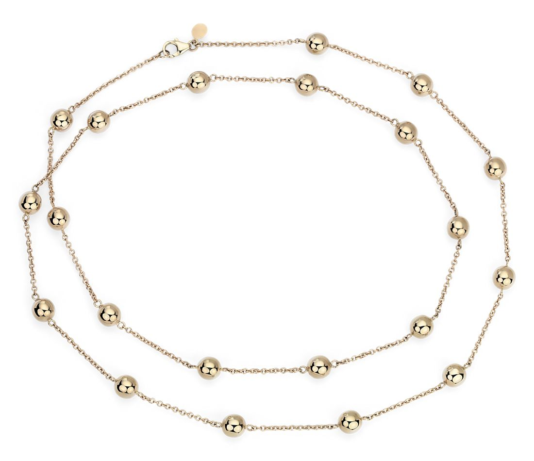 "Long Bead Station Necklace in 14k Italian Yellow Gold (34"")"