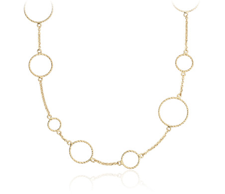 Long collier cercles en or jaune 14 carats