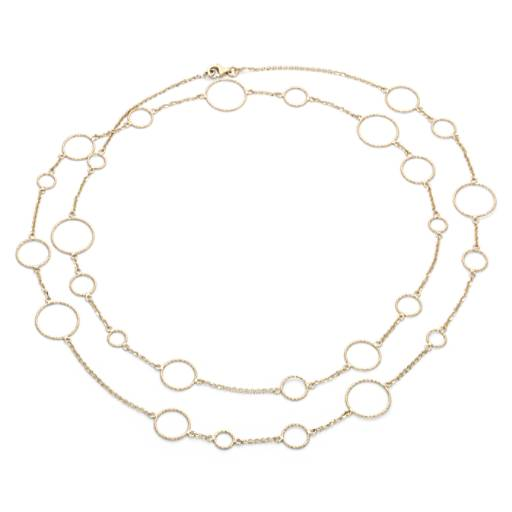 Long And Layered Circle Necklace In 14k Yellow Gold Blue