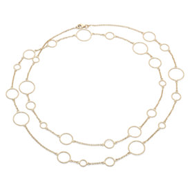 Long and Layered Circle Necklace in 14k Yellow Gold