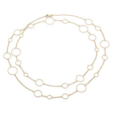Long and Layered Circle Necklace in 14k Italian Yellow Gold