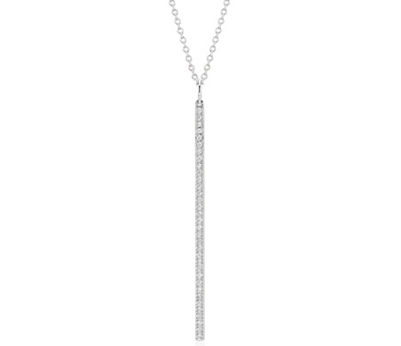 "Long Diamond Bar Pendant in 14k White Gold - 30"" (1/4 ct. tw.)"