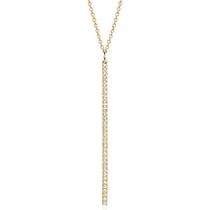 Long Diamond Bar Pendant in 14k Yellow Gold - 30""
