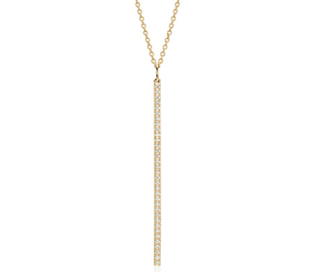 Blue Nile Long Diamond Bar Pendant in 14k Yellow Gold - 30 (1/4 ct. tw.) CAs4nzwS