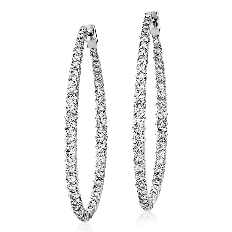 Long Diamond Graduated Eternity Hoop Earrings in 14k White Gold (