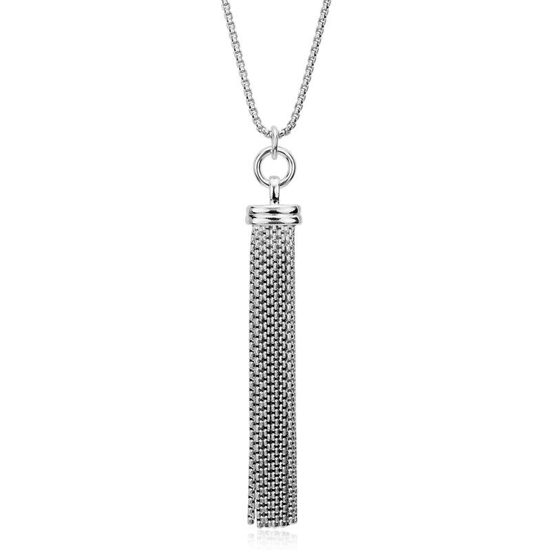 "Long Fringe Tassel Pendant in Sterling Silver (30"")"