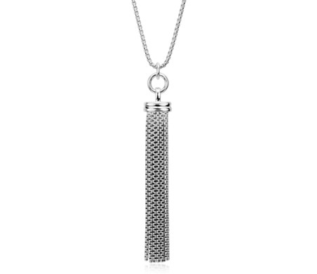 "Long Fringe Tassel Pendant in Sterling Silver (30"")"