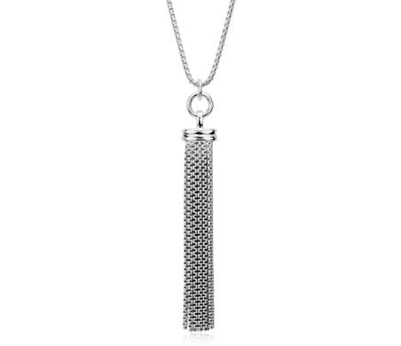 Long Fringe Tassel Pendant in Sterling Silver