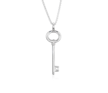 Long Key Pendant in Sterling Silver